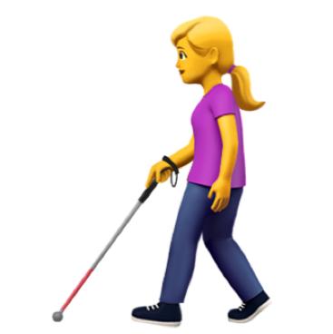 Emoticon einer weiblichen blonden Figur in Jeans und T-Shirt, die an einem Gehstock geht.
