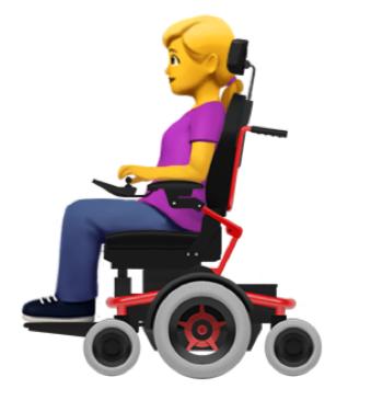 Emoticon einer blonden Frau die in einem Elektrorollstuhl sitzt.