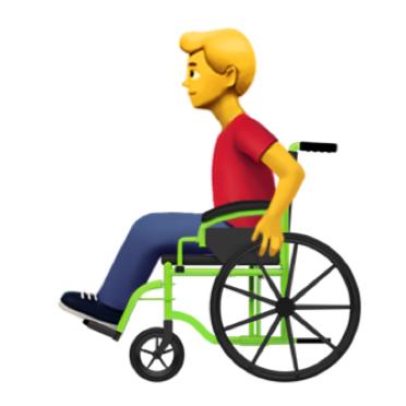 Emoticon eines blonden Mannes der in einem Rollstuhl sitzt.