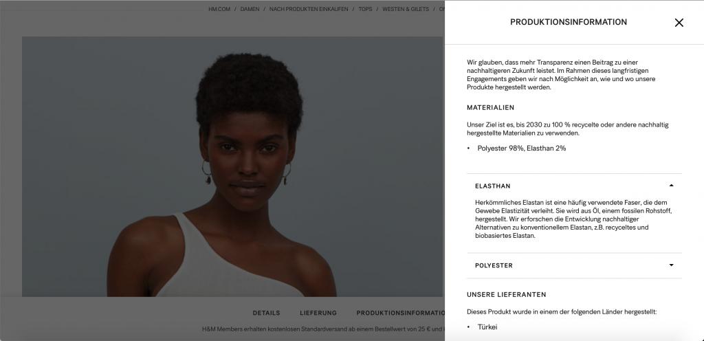 Auf dem Bild ist ein Screenshot von einer Produktinformation der H&M Website zu sehen.