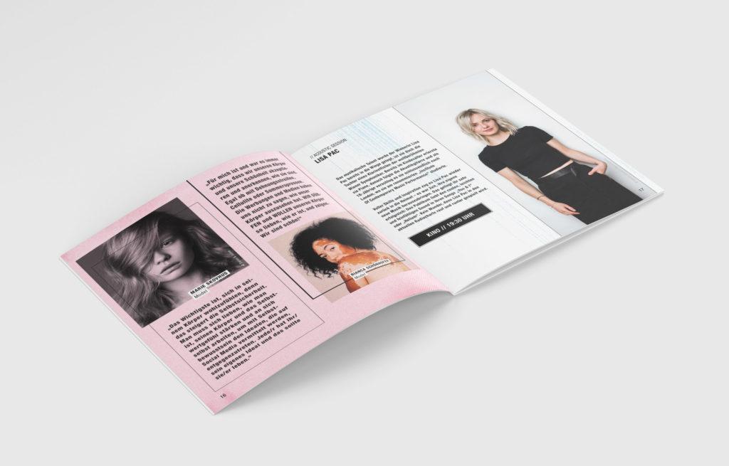 Auf dem Bild sind zwei Seiten zur Programmbeschreibung  im Magazin des Every Body In. Magazins zu sehen.