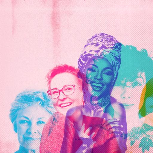Auf dem Bild sieht man diverse Frauen auf rosa Hintergrund