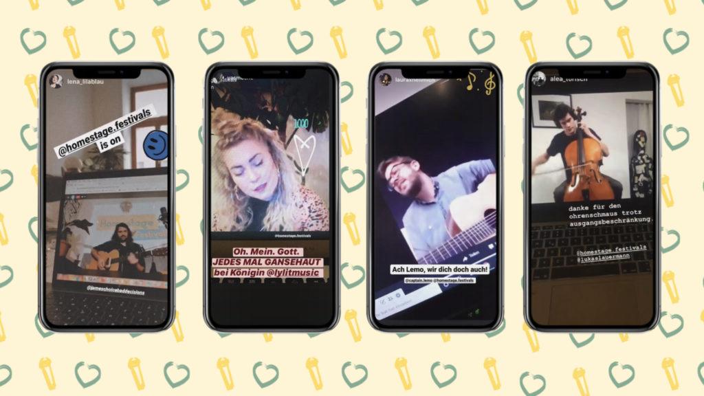 Auf diesem Bild sieht man verschiedene Smartphones, die gerade das Homestage Festival streamen