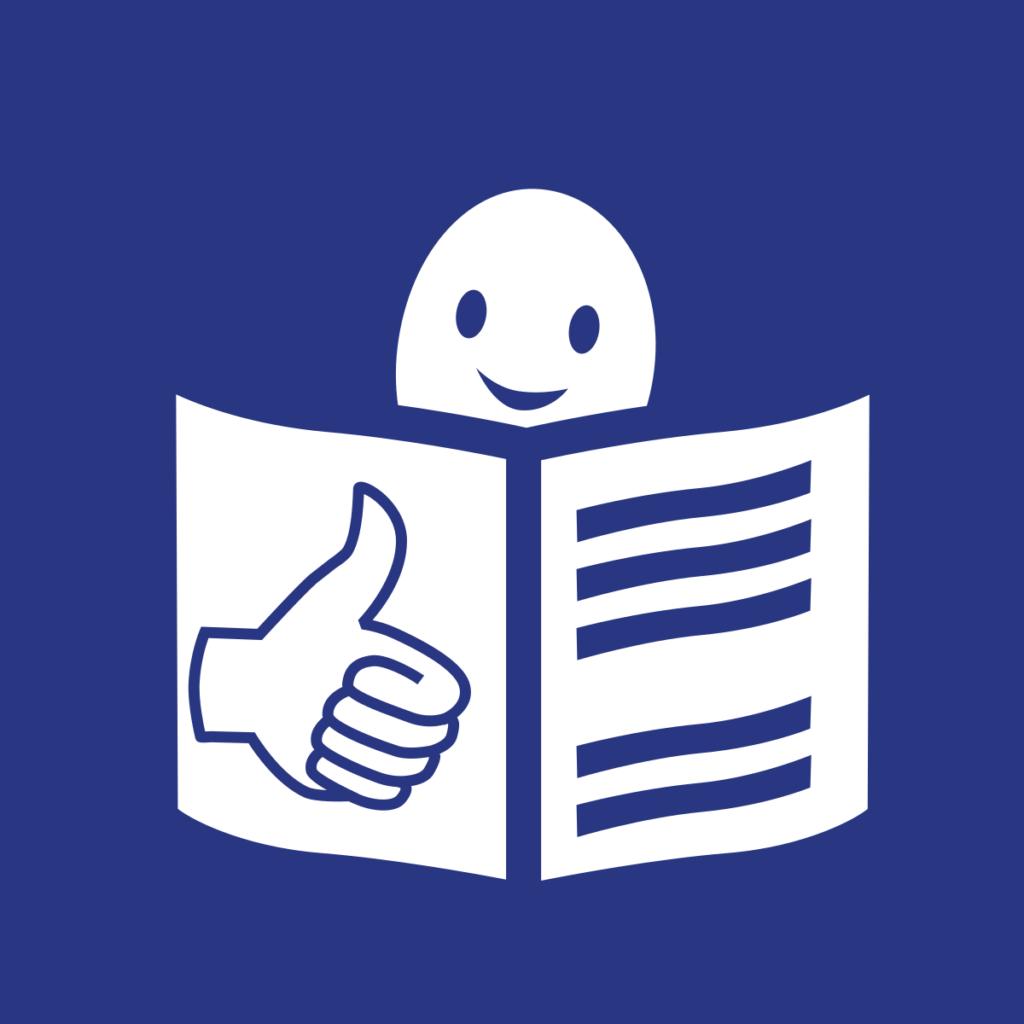 Icon: Mensch beim Lesen eines Buches, am Buchcover ein Daumen nach Oben. Blauer Hintergrund