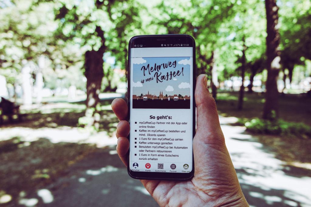 Auf diesem Bild sieht man die myCoffeeCup App.