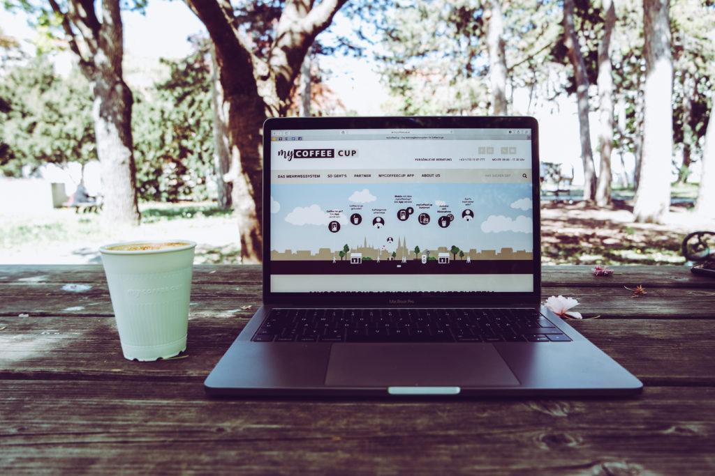 Auf diesem Bild sieht man die myCoffeeCup Website
