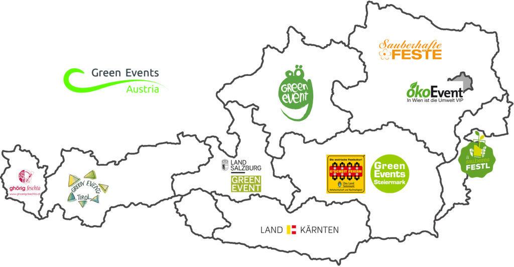 """Es ist eine Österreich Landkarte zu sehen und die neuen Bundesländer. Pro Bundesland ist das jeweilige Green Event Label zu sehen. In Vorarlberg """"ghörig feschta"""". In Tirol """"Green Events Tirol"""". In Salzburg """"Land Salzburg Green Event"""". In Kärnten """"Land Kärnten"""". In der Steiermark """"Green Events Steiermark"""". In Burgenland """"a sauberes Festl"""". In Niederösterreich """"Zauberhafte Feste"""". In Oberösterreich """"OÖ Green Events"""". In Wien """"Öko Event""""."""