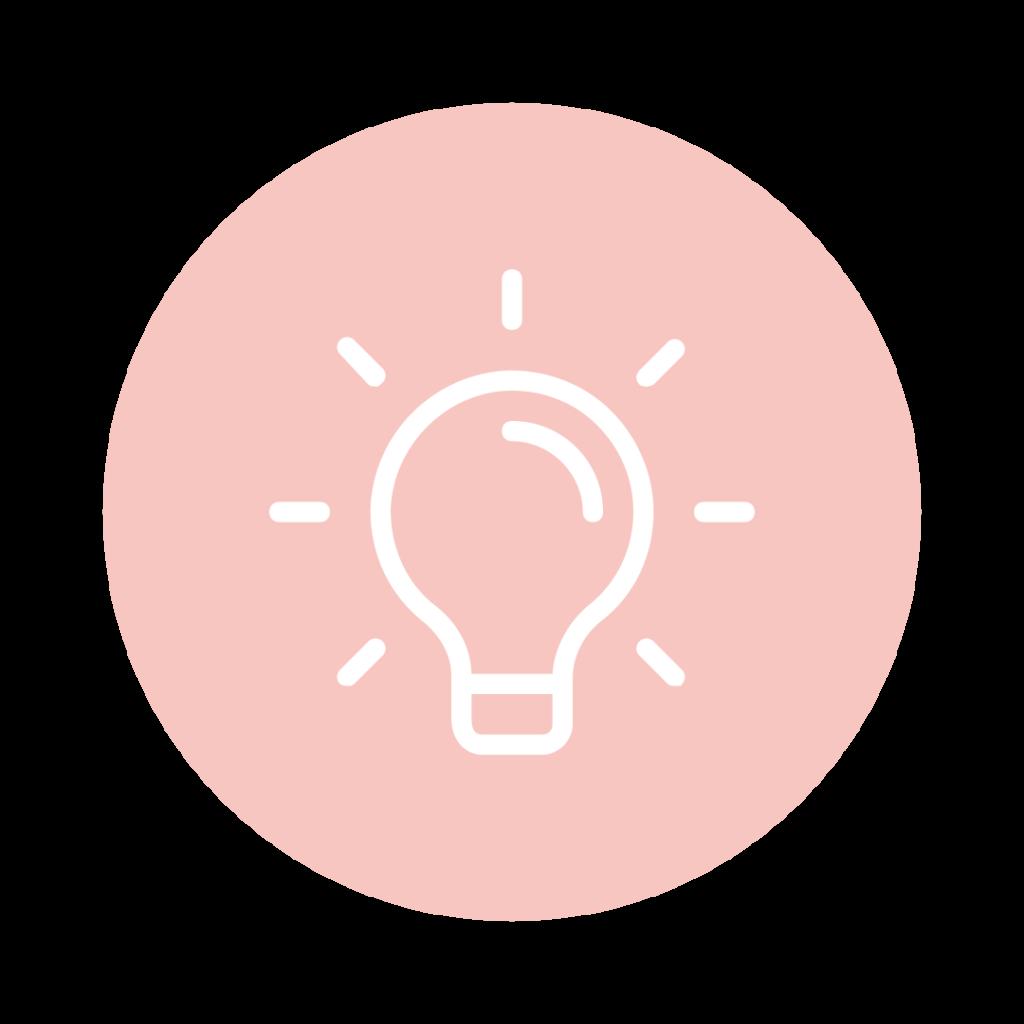 Auf dem Bild sieht man ein Icon von einer Glühbirne in einem Kreis.
