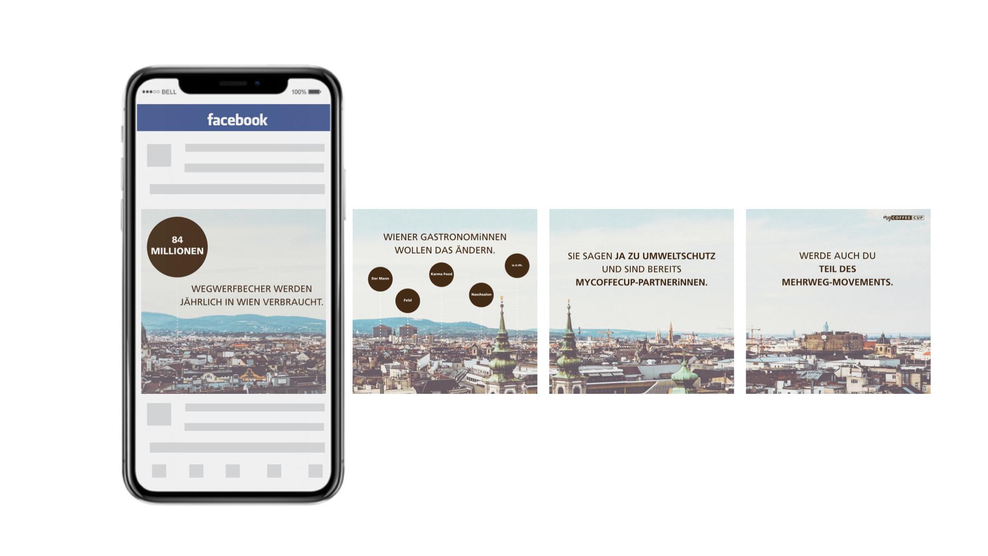 Auf diesem Bild sieht man eine myCoffeeCup Facebook Ad.