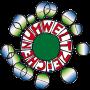 """Das Logo des Österreichischen Umweltzeichen ist zu sehen. Es ist vom Künstler Hundertwasser und auch in diesem Stil gehalten. Das Wort """"Umweltzeichen"""" ist in Rot um einen grünen Kreis herum zu sehen."""