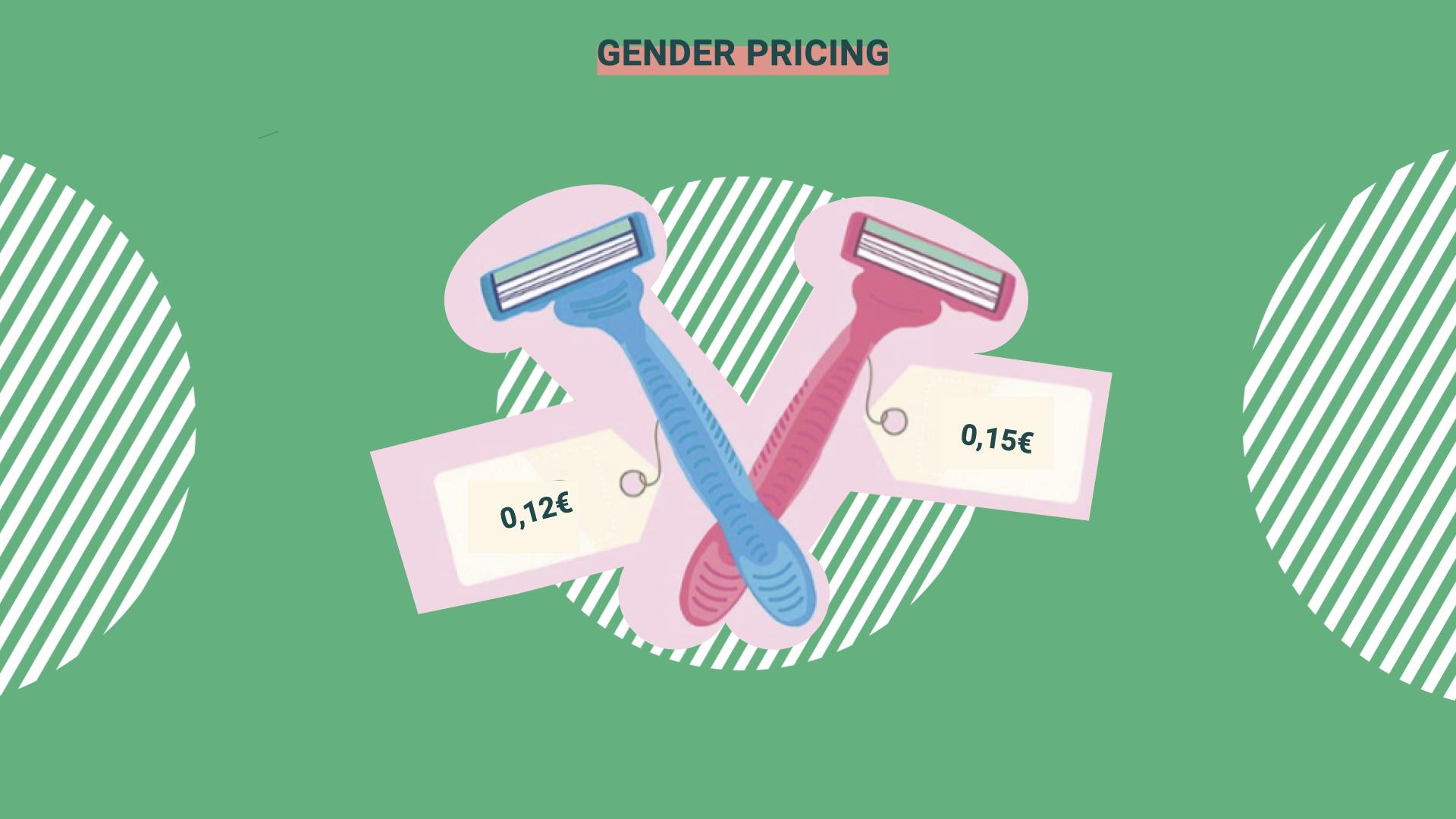 Überschrift im Bild: Gender Pricing. Darunter ist ein blauer Rasierer mit dem Preisschild: 0,12€. Und ein linker Rasierer mit dem Preisschild: 0,15€.