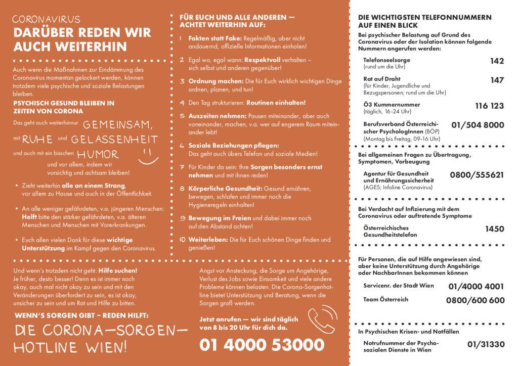 Auf diesem Bild sind viele Informationen von der Corona-Sorgen-Hotline-Wien zu sehen, sowie die Telefonnummern bei psychischer Belastung.